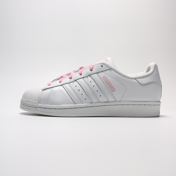 ADIDAS ORIGINALS SUPERSTAR 白 粉紅標 鞋帶 貝殼頭 休閒鞋 女 (布魯克林) 2019/5月 CG6617
