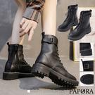 PAPORA舒適面料百搭中筒馬丁靴中筒靴KS5466黑