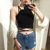 背心/吊帶  夏季韓版百搭純色交叉綁帶小背心修身短款吊帶外穿顯瘦