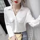 限時特價 長袖襯衫女春秋季韓版修身顯瘦百搭復古polo領設計感職業上衣
