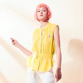 【SHOWCASE】OL小V領前長後短無袖造型襯衫(黃色-附腰帶)