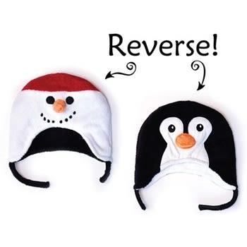 Flapjack kids雙面保暖造型帽-雪人/企鵝LUV0127[衛立兒生活館]