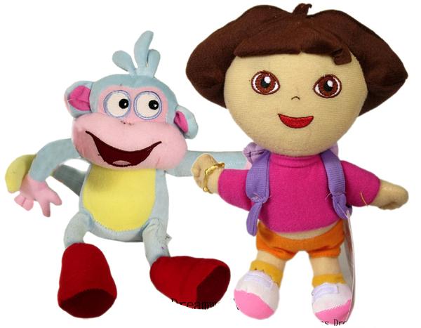 【卡漫城】 Dora & Boots 玩偶 二入組 30公分 絨毛 娃娃 布偶 朵拉 小猴子 女孩 卡通 愛探險 好朋友