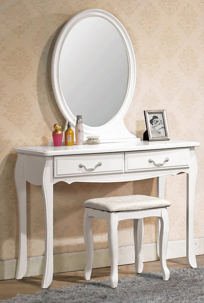【森可家居】仙朵拉橢圓鏡 7CM119-4 化妝鏡台 上座 白色 法式古典