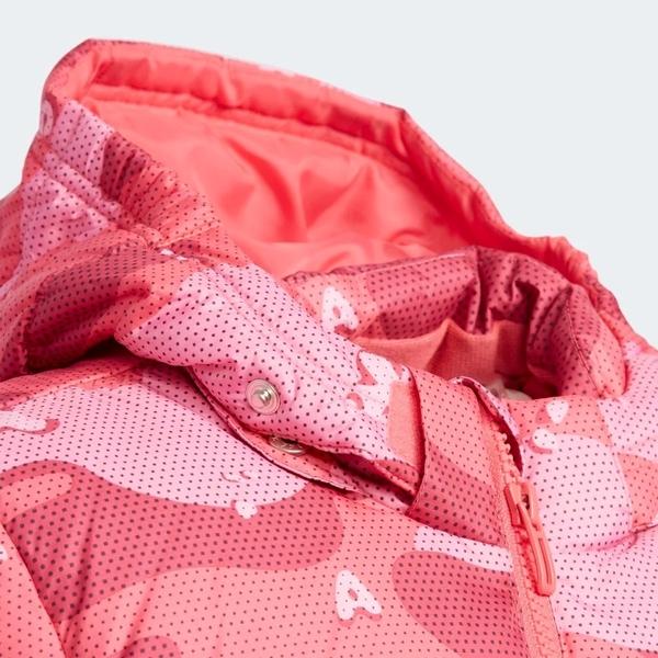 ADIDAS LK J AOP DOWN J 童裝 中童 外套 連帽 羽絨 休閒 拉鍊口袋 印花 粉【運動世界】EH4141