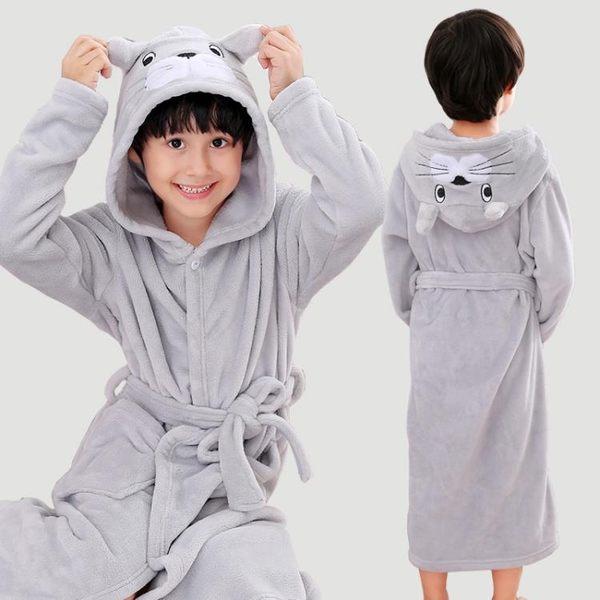 雙11購划算-冬季兒童睡袍珊瑚絨加厚男童浴袍法蘭絨寶寶睡衣男孩中大童家居袍