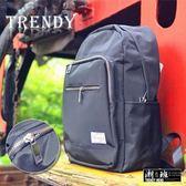 『潮段班』【HJ000410】簡約休閒風深藍色基本款多袋帆布拉鍊後背包/休閒包/學生包