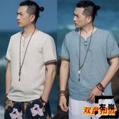 中國風T恤夏季寬松漢服短袖古風中式復古唐裝亞麻t恤【左岸男裝】