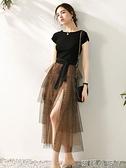 法式甜美洋裝2021夏裝新款修身T恤性感豹紋網紗半裙兩件套裝裙 蘿莉新品