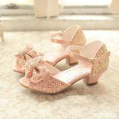 女童涼鞋 正韓兒童涼鞋舞蹈冰雪奇緣18艾莎女童公主鞋粉色水晶高跟涼鞋 米蘭shoe