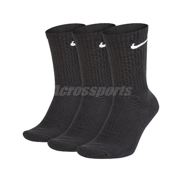 Nike 襪子 Everyday Cushioned Crew 黑 三雙入 男女款 運動襪 【ACS】 SX7664-010