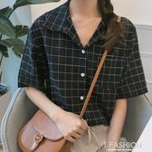 韓版春裝2018新款女裝學生修身顯瘦格子短袖襯衣襯衫百搭休閒上衣·Ifashion