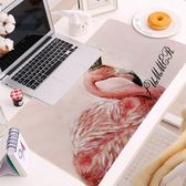 麻造 新款粉色火烈鳥加厚鎖邊超大40 70 防滑鍵盤墊游戲鼠標墊-大小姐韓風館