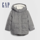 Gap男幼童 簡約仿羊羔絨拉鍊連帽外套 593052-灰色