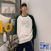 拼色純棉長袖T恤男加大碼寬鬆薄款學生秋季秋衣【英賽德3C數碼館】