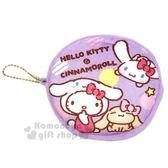 〔小禮堂〕Sanrio大集合 圓型絨毛零錢包《紫.大耳狗.變裝》吊飾.掛飾.收納包 4718733-08051