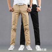 薄款男士修身休閒褲男直筒寬鬆大碼韓版潮流黑色長褲子『艾麗花園』