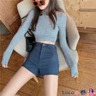 熱賣牛仔短褲 新品時尚女裝復古高腰修身顯瘦彈力牛仔褲熱褲個性側拉鏈包臀短褲 coco