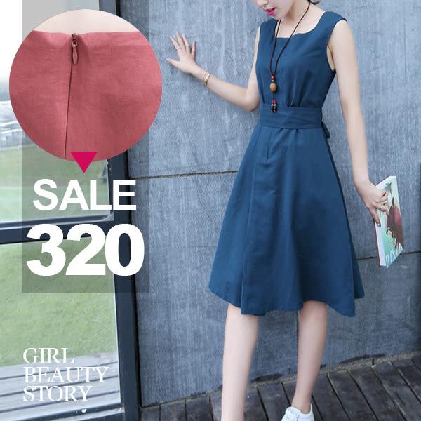 SISI【D7054】氣質小清新圓領寬鬆休閒棉麻連身裙縮腰綁帶棉麻中長裙背心洋裝