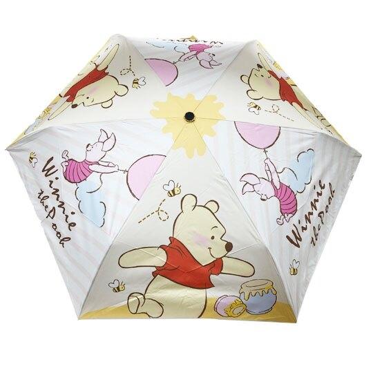 小禮堂 迪士尼 小熊維尼 折疊雨陽傘 三折雨傘 折疊雨傘 雨具 (黃 蜂蜜罐) 4713304-52117