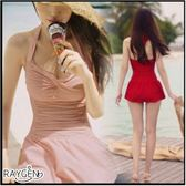 韓版 泳衣 女連身 顯瘦遮肚 泳裝 泡溫泉 加大碼 小胸 大胸 裙式