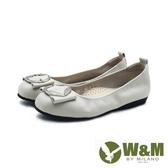 【南紡購物中心】W&M 方頭葉形銀釦娃娃鞋平底鞋女鞋 -灰米色(另有黑)