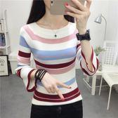 針織衫 962# 秋冬新款韓版喇叭袖針織衫修身長袖打底衫上衣潮