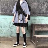 2020新款寬鬆黑色短褲女夏季bf風高腰運動休閒中褲五分褲直筒港味