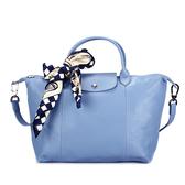 LONGCHAMP小羊皮手提肩背兩用短提把中型水餃包(淺藍色-含帕巾)480193-A30
