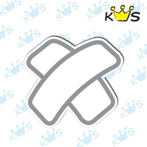 【防水貼紙】白色打叉OK繃 # 壁貼 防水貼紙 汽機車貼紙 4.7cm x 4.3cm