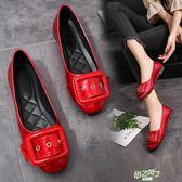 低跟鞋 紅色淺口平底單鞋孕婦鞋低跟低幫皮帶扣工作鞋女鞋