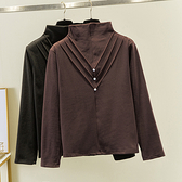 XL-4XL打底衫 保暖內搭上衣2407大碼胖mm雙面磨毛德絨高領打底衫加厚保暖上衣F5026韓衣裳