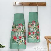 日式親子棉麻圍裙定制logo可愛兒童成人廚房防油圍腰餐廳工作服 晴天時尚館
