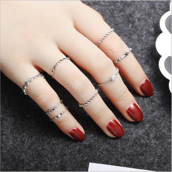 手飾品 復古 合金 指環 八件套裝 時尚 鑲鑽 麻花 戒指 女