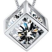 925純銀項鍊 鑲鑽-方塊造型獨特時尚韓國流行銀飾女墜飾73y54【巴黎精品】
