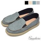 樂福鞋 防水素色壓紋皮革休閒鞋-藍