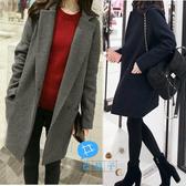 【C20209】shiny藍格子-優雅知性。簡約毛呢翻領中長大衣外套