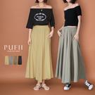 PUFII-寬褲 鬆緊腰頭珍珠雪紡長寬褲...