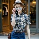格子襯衫短袖夏裝新款純棉文藝小清新女裝學生韓版寬鬆胖妹妹大碼快速出貨