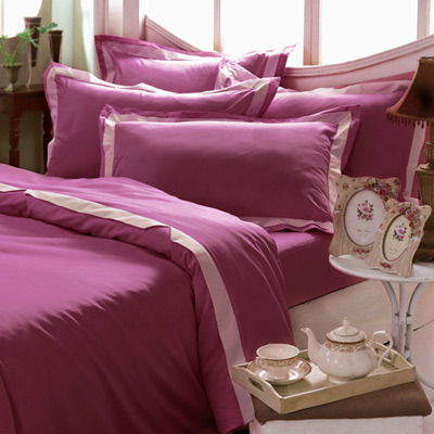 ★台灣製造★義大利La Belle《美學素雅》加大四件式被套床包組-玫瑰紅