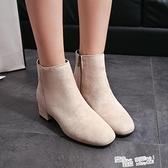 2021秋冬季新款襪靴百搭sw網紅短靴子方頭彈力靴粗跟中跟瘦瘦靴女 夏季新品