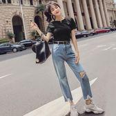 套裝女夏2018新款韓版氣質圓領短袖T恤 高腰破洞直筒褲九分牛仔褲