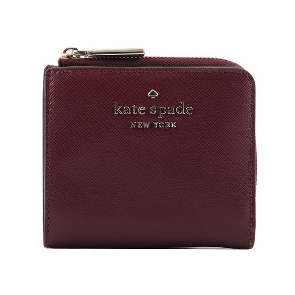 【KATE SPADE】Staci 防刮皮革拉鍊零錢袋二折短夾(酒紅色) WLR00143 610