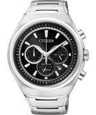 CITIZEN ECO-Drive 鈦金屬三眼計時腕錶-黑 CA4021-51E