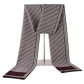 羊毛圍巾-條紋格子拼色針織男披肩3色73wh22【時尚巴黎】