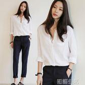 秋裝新款立領長袖襯衫女棉麻薄款寬鬆休閒大碼白色打底衫上衣 初語生活館
