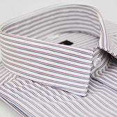 【金‧安德森】白底紅藍條紋窄版長袖襯衫