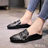 英倫皮鞋復古女新款豆豆鞋女一腳蹬懶人平底單鞋兩穿 zm7473【每日三C】
