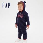 Gap嬰兒 LOGO開襟連帽一體式包屁衣 592876-海軍藍