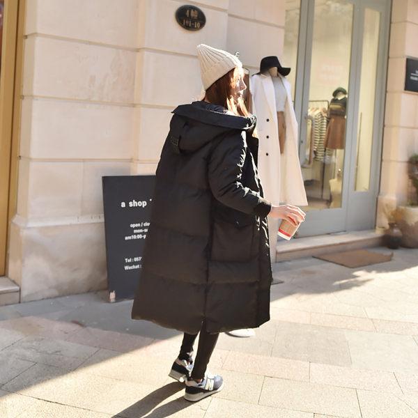 【現貨】梨卡- 小中大尺碼M-3XL正韓國代購情侶可穿超長版鋪棉連帽加厚仿羽絨風衣外套長大衣A135